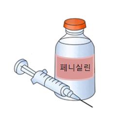 주사기와페니실린약병